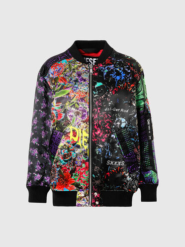 Bomber con patchwork floreale