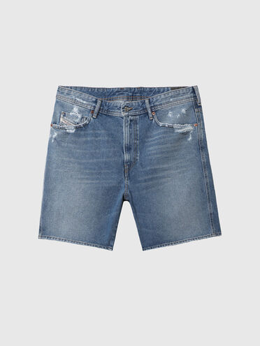 Shorts in denim con abrasioni sulle tasche