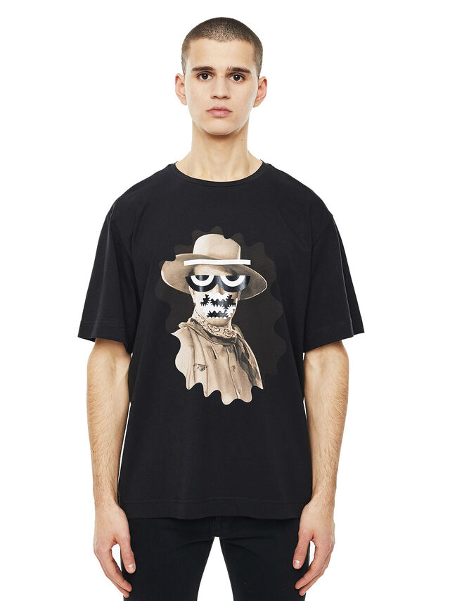 Diesel - TEORIAL-COWBOY, Nero - T-Shirts - Image 1
