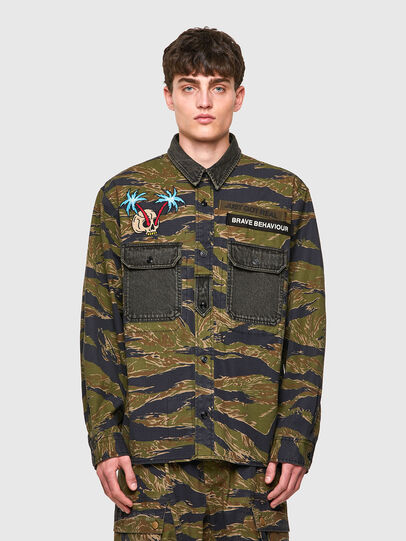 Diesel - S-BUNNELL-CMF, Verde Militare - Camicie - Image 1