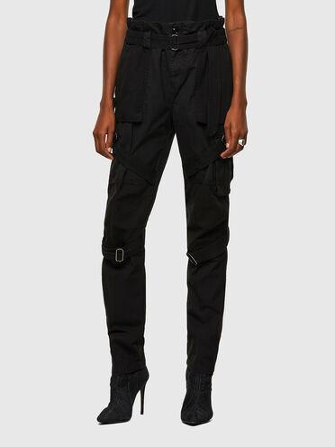 Pantaloni cargo con cinturini in twill e tela