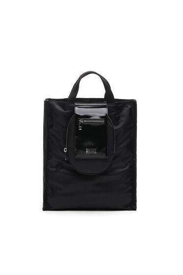 Piccola borsa shopping in nylon e pelle lucida