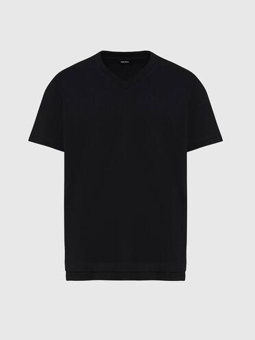 T-shirt con scollo a V e doppio orlo