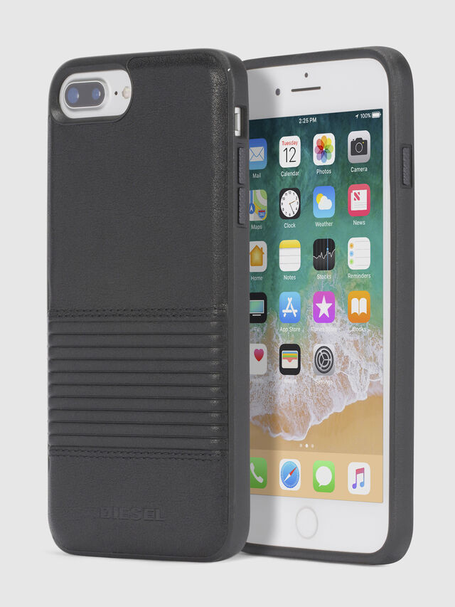 Diesel - BLACK LINED LEATHER IPHONE 8 PLUS/7 PLUS/6s PLUS/6 PLUS CASE, Nero - Cover - Image 1