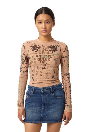 Top stretch con stampe effetto tattoo