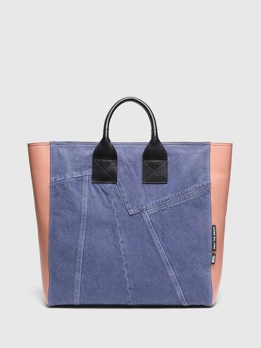 Grande borsa shopping in denim e pelle