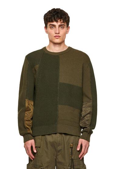 Pullover patchwork in maglia testurizzata