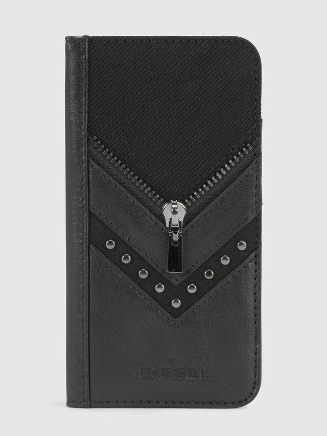 Diesel BLACK DENIM/STUD/ZIPPER IPHONE X FOLIO, Nero - Cover a libro - Image 2