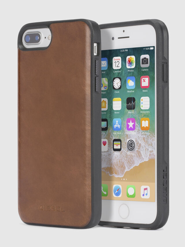 Diesel - BROWN LEATHER IPHONE X CASE, Marrone - Cover - Image 1