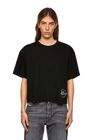 T-shirt con bordo ricamato