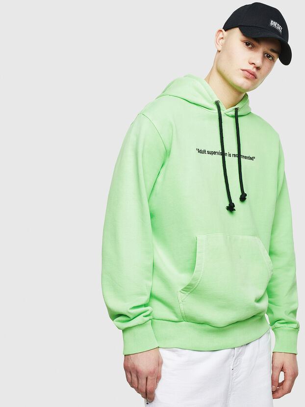 S-GIRK-HOOD-FLUO, Verde Fluo - Felpe