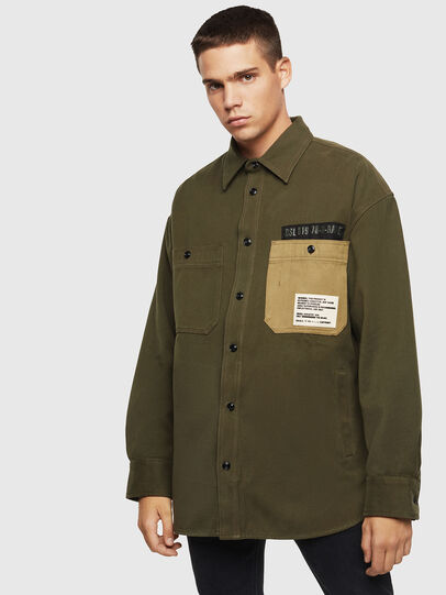 Diesel - S-LEBED, Verde Scuro - Camicie - Image 1