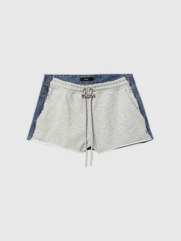 Shorts ibridi in denim e felpa
