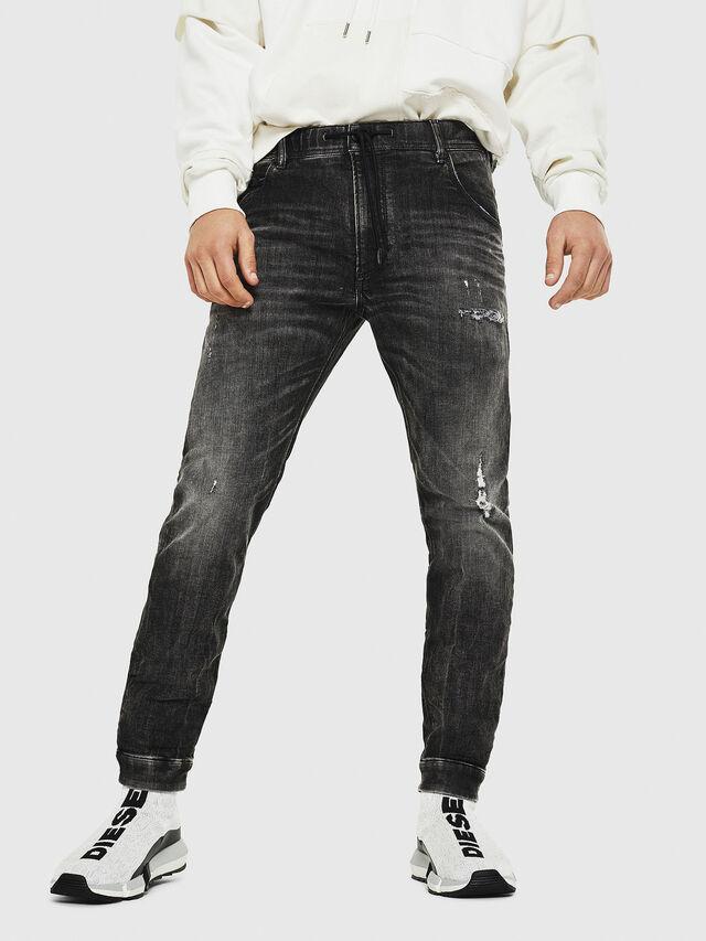 Diesel - Dvl-Krooley JoggJeans 0077S, Nero/Grigio scuro - Jeans - Image 1