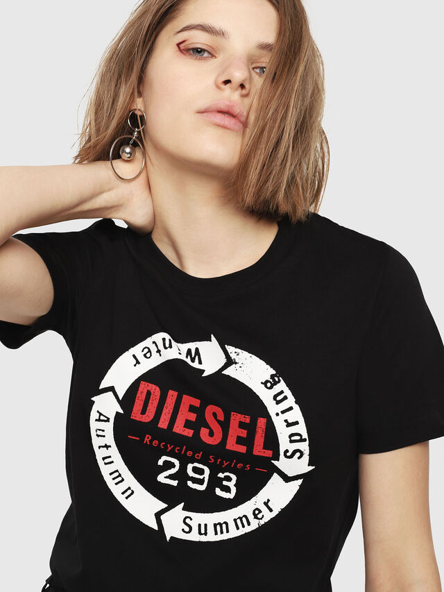 Diesel - T-SILY-C1, Nero - T-Shirts - Image 3