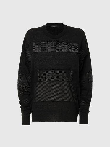 Pullover in lino con inserti lavorati a maglia