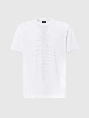 T-shirt con stampa a lisca di pesce tono su tono