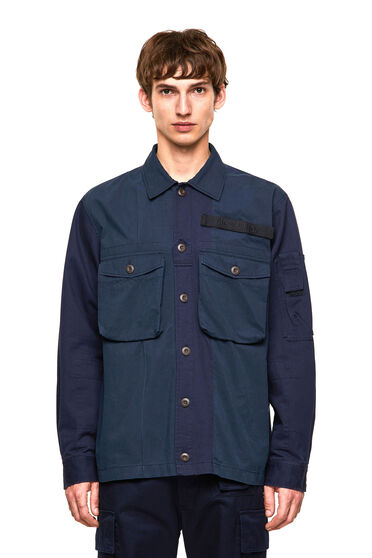 Overshirt mix material con applicazione in velcro