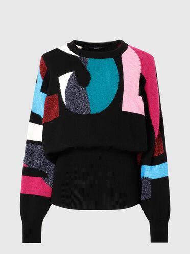 Pullover con lavorazione a maglia compatta e logo a intarsio