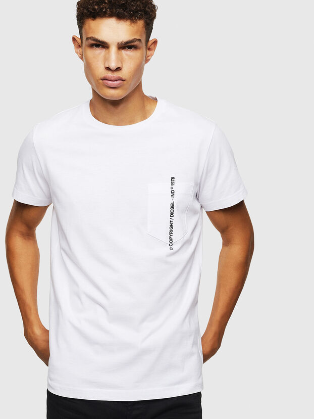 T-RUBIN-POCKET-J1, Bianco - T-Shirts