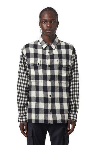 Camicia a quadri in flanella di lana vergine