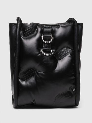 Mini borsa a secchiello trapuntata con logo