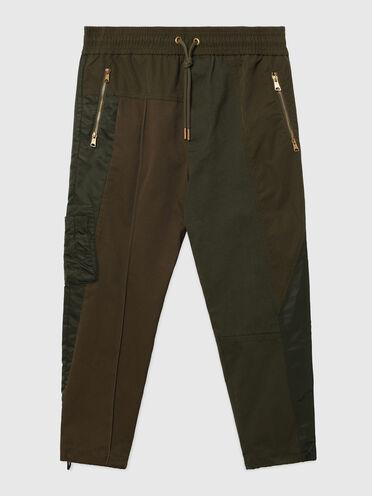 Pantaloni in twill, tela e raso