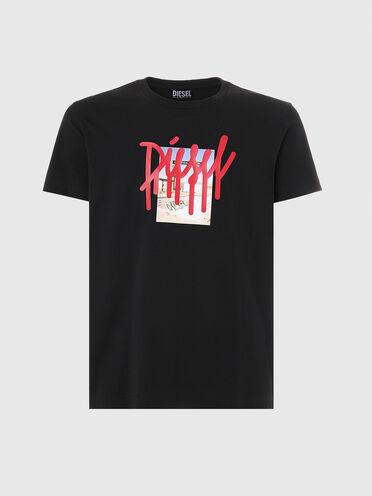 T-shirt con logo a effetto colato