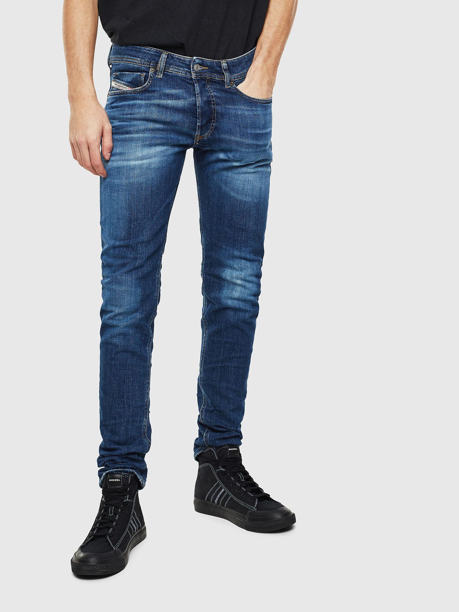Jeans da Uomo DIESEL Sleenker 0842Q Skinny Jeans Stretch-Blu Denim Blu Scuro