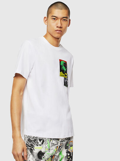 Diesel - T-JUST-SLITS-J18, Bianco - T-Shirts - Image 1