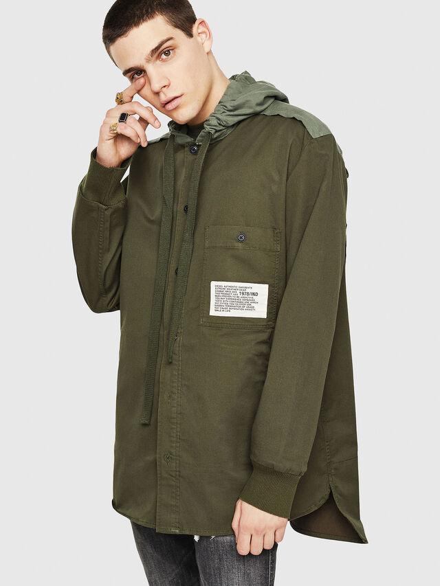 Diesel - S-EIKU, Verde Militare - Camicie - Image 1