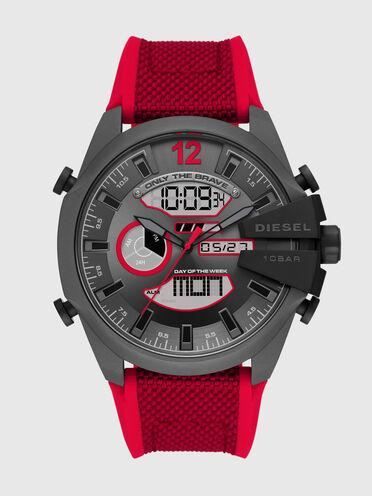 Orologio Mega Chief analogico-digitale con cinturino in nylon e silicone rosso