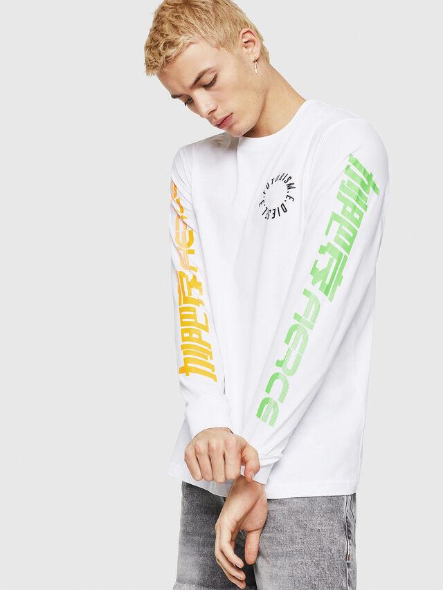 Diesel - T-JUST-LS-Y1, Bianco - T-Shirts - Image 1