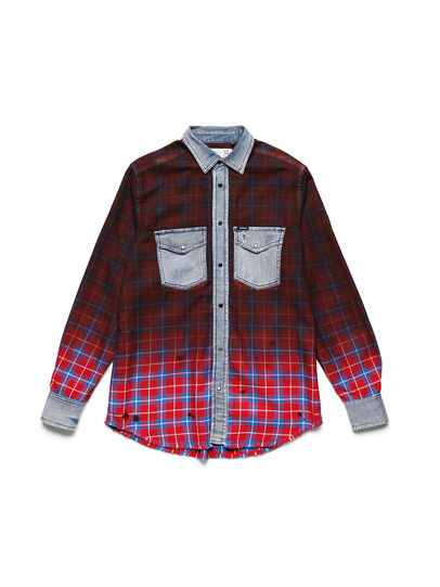 Diesel - D-DEEPCHECK-B, Rosso - T-Shirts - Image 1
