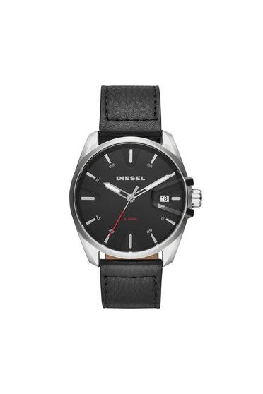 MS9 Chrono orologio nero con cinturino in pelle, 44 mm