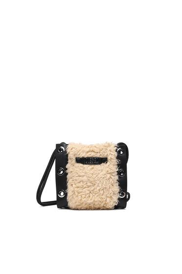 Mini borsa a secchiello in eco-pelliccia