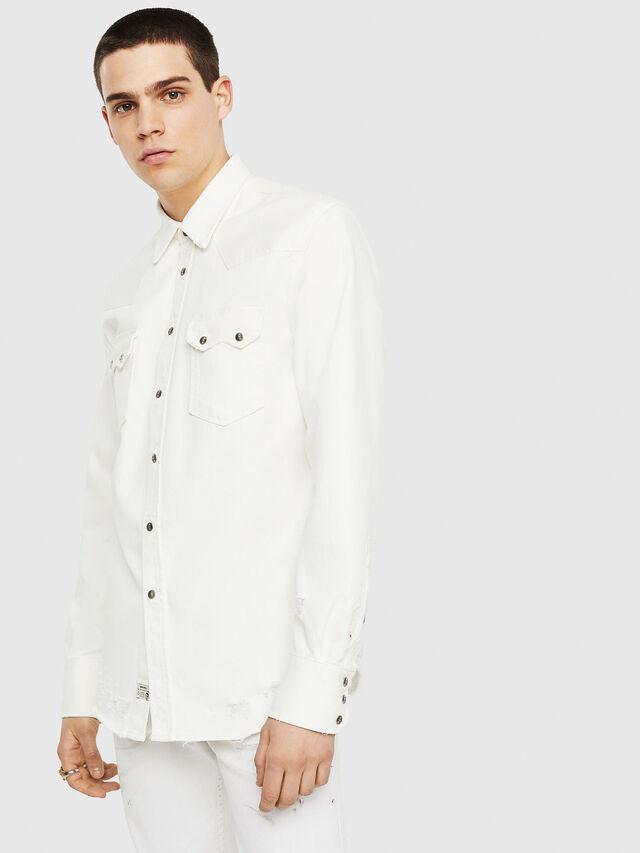Diesel - D-LEO, Bianco - Camicie in Denim - Image 1