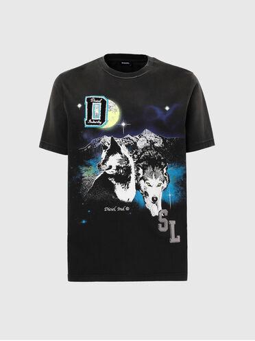 T-shirt con stampa lupo e logo DSL