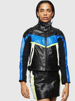 the best attitude 8c5b4 07773 Giacca biker in pelle con inserti fluo