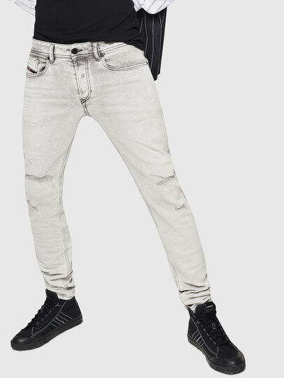 Diesel - Sleenker 0090F, Grigio Chiaro - Jeans - Image 1