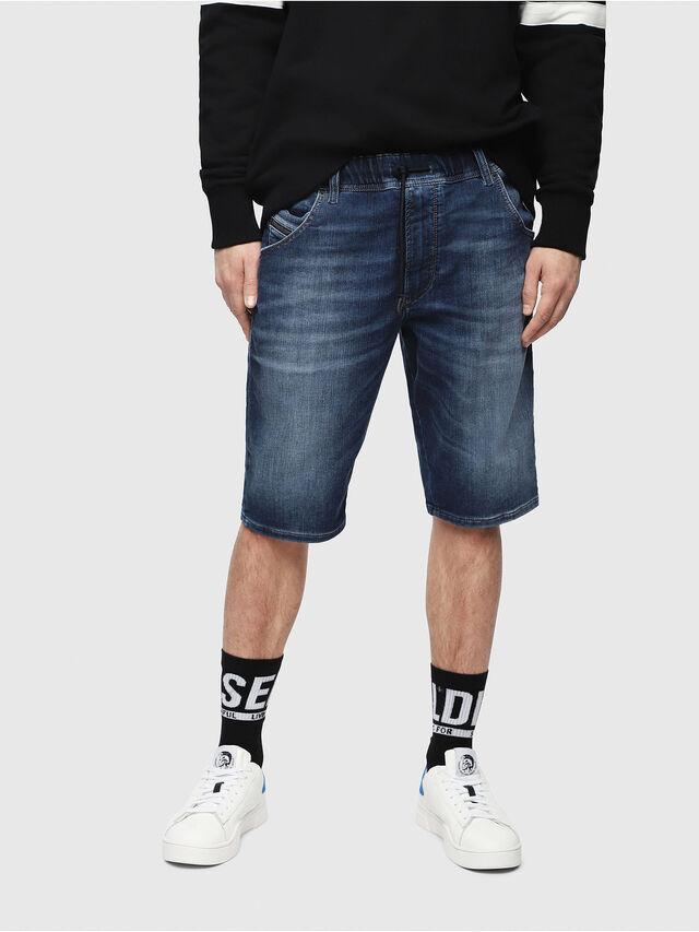 Diesel - D-KROOSHORT JOGGJEANS, Blu Scuro - Shorts - Image 1