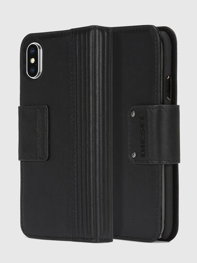 Diesel - BLACK LINED LEATHER IPHONE X FOLIO,  - Cover a libro - Image 1