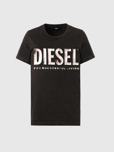 T-shirt con stampa e slogan in PVC