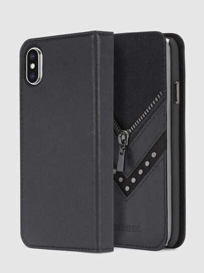 Diesel - BLACK DENIM/STUD/ZIPPER IPHONE X FOLIO, Nero - Cover a libro - Image 1