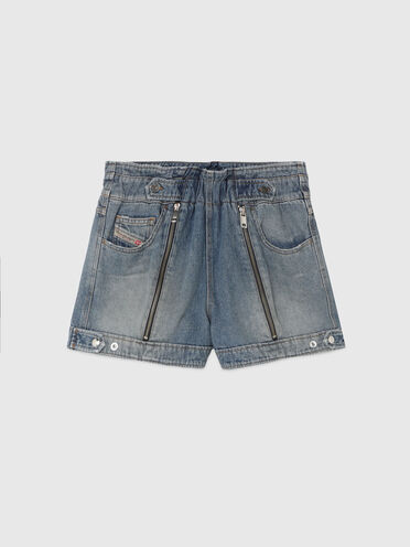 Shorts a vita alta in denim