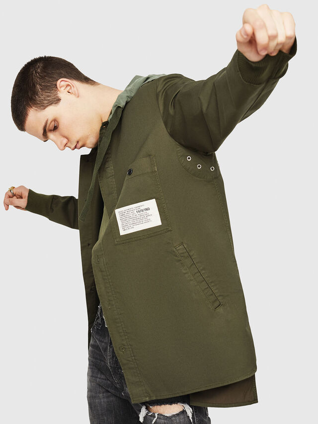Diesel - S-EIKU, Verde Militare - Camicie - Image 4