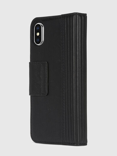 Diesel - BLACK LINED LEATHER IPHONE X FOLIO, Nero - Cover a libro - Image 4