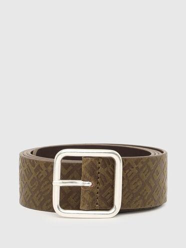 Cintura in pelle con logo in rilievo