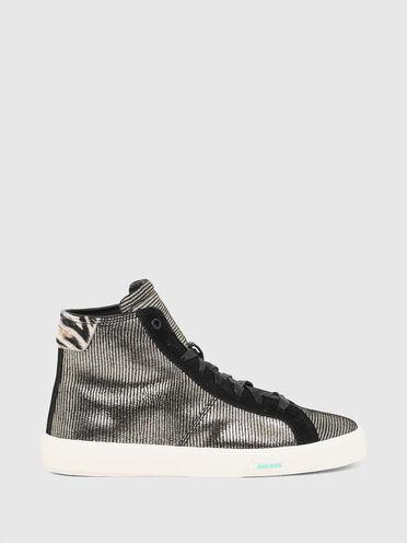 Sneaker alte con motivo metallizzato