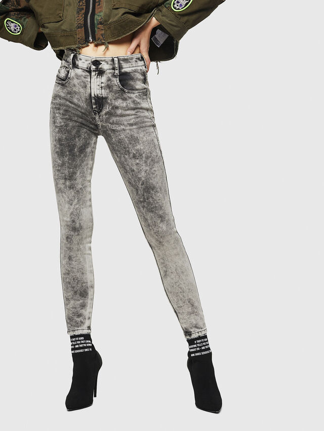 Diesel - Slandy High 069GQ, Grigio Chiaro - Jeans - Image 1